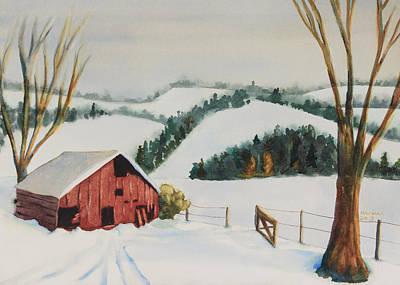 Southwest Gate Painting - Winter Barn by Melanie Harman