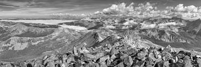 Winter Animals - Colorado Black and White Images - Panorama from the Summit of Mo by Rob Greebon