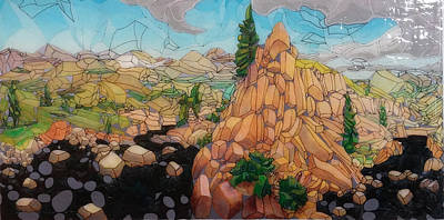 Abstract Realist Landscape Painting - Colorado Cube-scape by Jeff Sidney