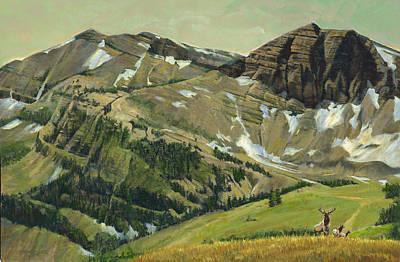 Jackson Hole Wall Art - Painting - Elk Crossing Wyoming Mountains by Don  Langeneckert
