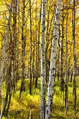Autumn Foliage Mixed Media - Colorado Fall Aspens 4 by Angelina Vick