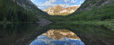 Featured Tapestry Designs - Colorado Images - Maroon Bells Morning Panorama by Rob Greebon