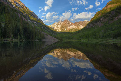 Moody Trees - Colorado Images - Maroon Bells on a Still June Morning 1 by Rob Greebon