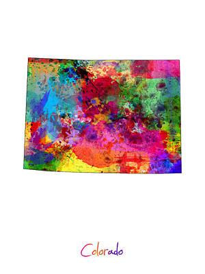 Colorado Digital Art - Colorado Map by Michael Tompsett