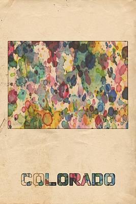 Painting - Colorado Map Vintage Watercolor by Florian Rodarte