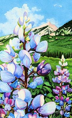 Lupine Painting - Colorado Summer Blues Close-up by Barbara Jewell