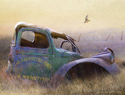 Meadowlark Mixed Media - Colorado Old Truck Is Still A Fine Perch by R christopher Vest