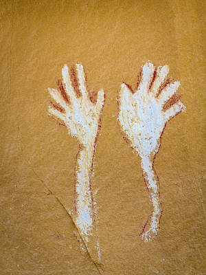 Colorado Pictograph Of Hands In Canyon Art Print by Jaynes Gallery