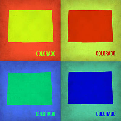 Modern Poster Painting - Colorado Pop Art Map 2 by Naxart Studio