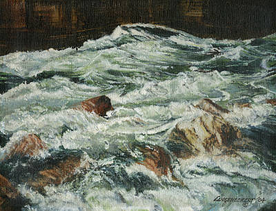 Colorado River Painting - White Water Rapids by Don  Langeneckert