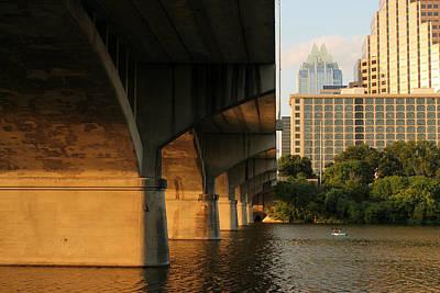 Frost Bank Building Photograph - Colorado River Running Under Congress Street Bridge In Austin Texas by Sarah Broadmeadow-Thomas