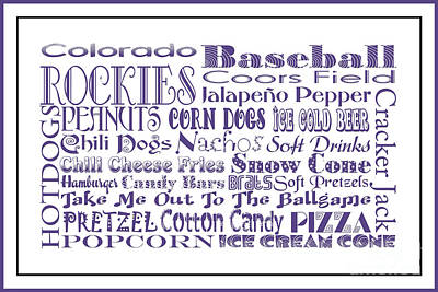 Digital Art - Colorado Rockies Game Day Food 3 by Andee Design