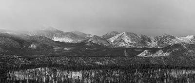 Winter Photograph - Colorado Rocky Mountain Continental Divide Panorama Bw Pt1 by James BO  Insogna