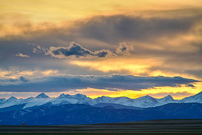 Winter Landscapes Photograph - Colorado Rocky Mountain Front Range Sunset Gold by James BO  Insogna