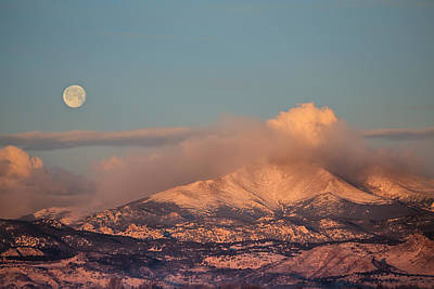 Photograph - Colorado Rocky Mountain Full Moon Set by James BO  Insogna