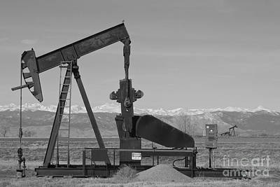 Photograph - Colorado Rocky Mountain Oil Wells Bw by James BO  Insogna
