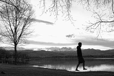 Photograph - Colorado Slackasana A Walk In The Park In Black And White by James BO  Insogna