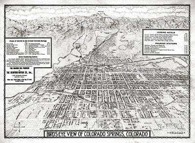 Old Map Painting - Colorado Springs - Colorado - 1909 by Pablo Romero