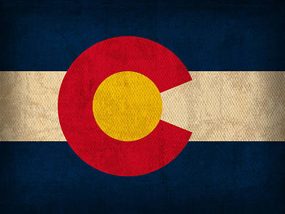 Colorado State Flag Art On Worn Canvas Art Print