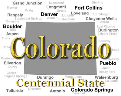 Colorado State Pride Map Silhouette  Art Print by Keith Webber Jr