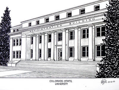 Drawing - Colorado State University by Frederic Kohli