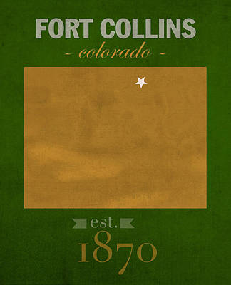 Colorado State University Rams Fort Collins College Town State Map Poster Series No 032 Art Print by Design Turnpike