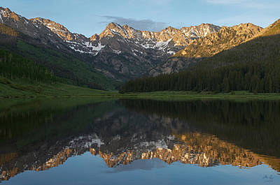 Gore Range Photograph - Colorado Sunset - Piney Lake by Aaron Spong