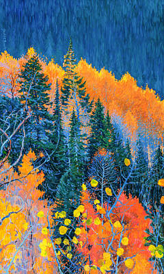 Blue And Red Painting - Colorado Trees At Fall by Judith Barath