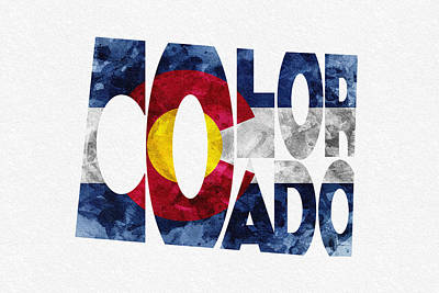 County Map Digital Art - Colorado Typographic Map Flag by Ayse Deniz