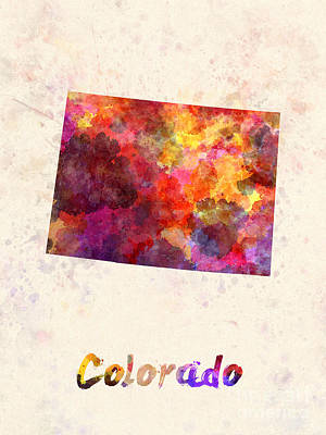 Cartography Painting - Colorado Us State In Watercolor by Pablo Romero