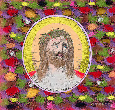 Crown Of Thorns Painting - Colored Background Jesus by Donna Munro