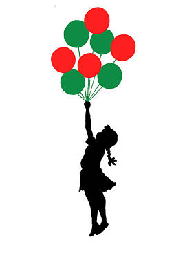 Colored Balloons Girl Print by Munir Alawi