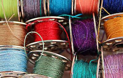 Colored Bobbins - Seamstress - Quilter Art Print by Barbara Griffin
