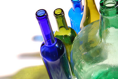 Shadow Photograph - Colored Bottles by Gina Dsgn