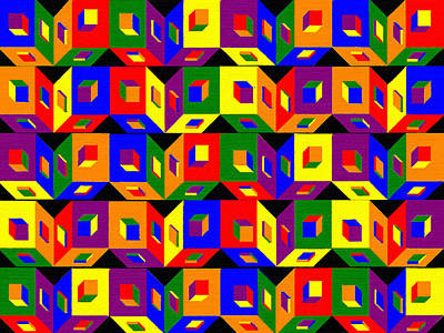 3-dimensional Painting - Colored Cubes by Pharris Art