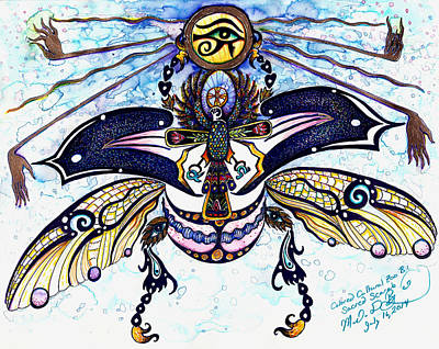 Colored Cultural Zoo B Sacred Scarab Art Print by Melinda Dare Benfield
