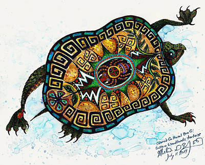 Colored Cultural Zoo C Eastern Woodlands Tortoise Art Print by Melinda Dare Benfield