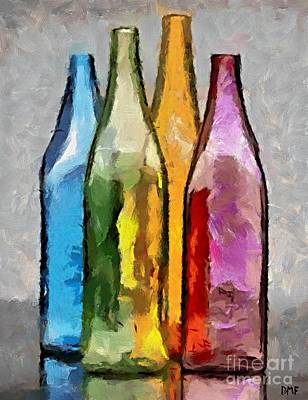 Colored Glass Bottles Art Print