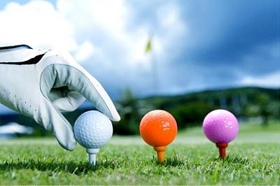 Colored Golf Balls Are In The Range Art Print