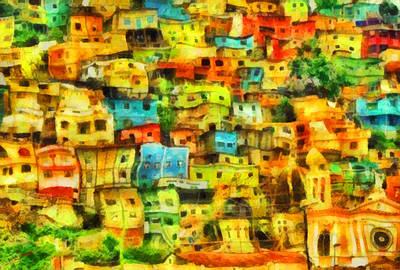 Portofino Italy Painting - Colored Houses 2 by George Rossidis