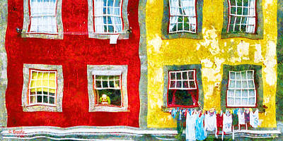 Greek Painting - Colored Houses by George Rossidis