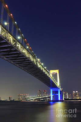 Photograph - Colored Lights On The Rainbow Bridge In Tokyo by Beverly Claire Kaiya