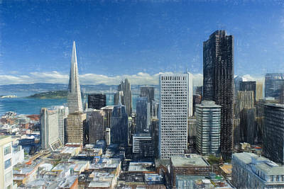 Colored Pencil Painting - Colored Pencil Sketch Of San Francisco Skyline by Elaine Plesser