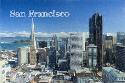 Colored Pencil Painting - Colored Pencil Sketch Of San Francisco Text San Francisco by Elaine Plesser