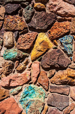 Stone Masons Photograph - Colored Stone Rock Church Wall - Cedar City - Utah by Gary Whitton