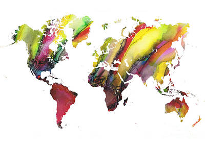 Typography Map Painting - Colored World Map by Justyna JBJart