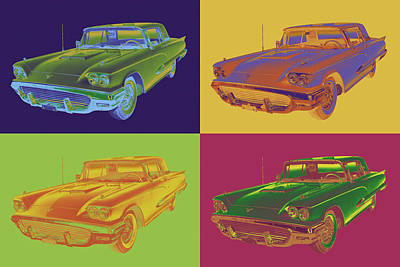Colorful 1958  Ford Thunderbird Car Pop Art Art Print by Keith Webber Jr