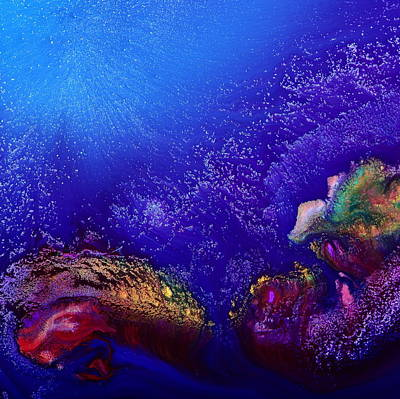 Colorful Abstract Art-vivid Fluid Painting Life Below By Kredart Art Print