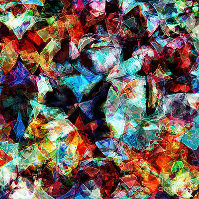 Print featuring the digital art Colorful Abstract Design by Phil Perkins