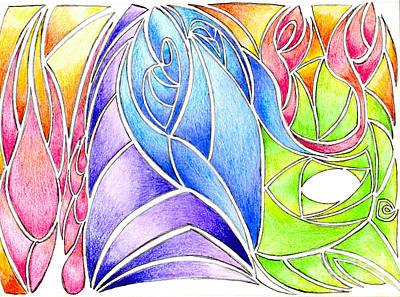 Garden Fruits - Colorful Abstract Drawing by Minding My  Visions by Adri and Ray